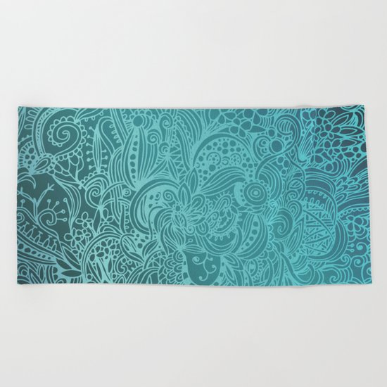 Detailed zentangle square, blue colorway Beach Towel