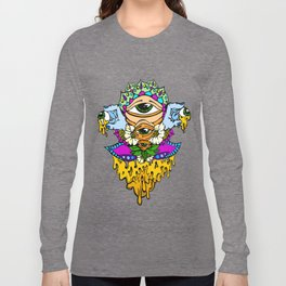 Open Your Eyes Psychedelic Illustration Long Sleeve T-shirt