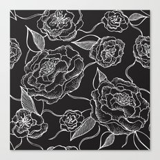 Floral Pattern B&W Canvas Print
