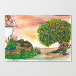 Countryside Watercolor Illustration Canvas Print