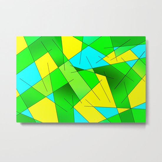 ABSTRACT LINES #1 (Greens, Yellow, Light Blue-Aquamarine) Metal Print