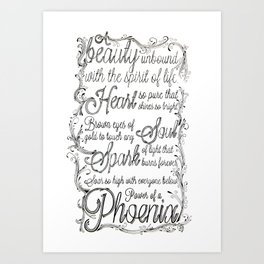 Phoenix Series, Poem in English (Part 2 0f 3) Art Print