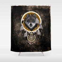 Indian Native Gray Wolf Dreamcatchers Shower Curtain