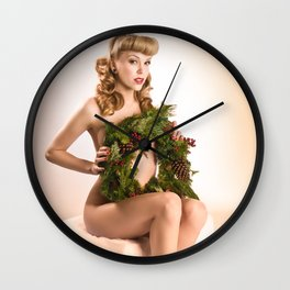 """Better Than an Ugly Sweater"" - The Playful Pinup - Christmas Wreath Pin-up by Maxwell H. Johnson Wall Clock"