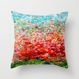 Field Of Spring Poppies Panorama Throw Pillow