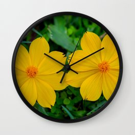Two Yellow Flowers Wall Clock