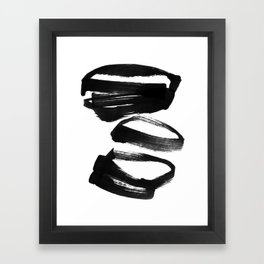 Black and White Abstract Shapes Ink Painting Framed Art Print
