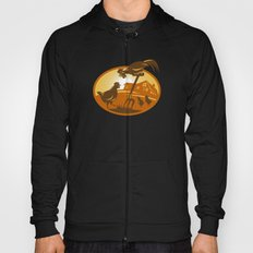 rooster hen chicken and chicks spade retro Hoody