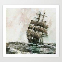 High Seas tea Clipper Art Print