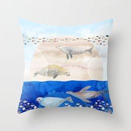 Seals, Sand, Ocean - Surrealist Dreams Throw Pillow