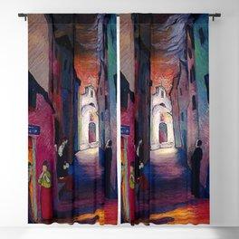 'Ava Maria', Italian Village Landscape Painting by Marianne Von Werefkin Blackout Curtain