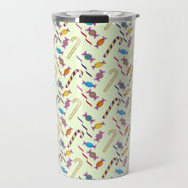 Candy Canes in yellow Travel Mug