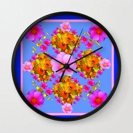 Blue Art Pink Roses Gold Daffodils Wall Clock