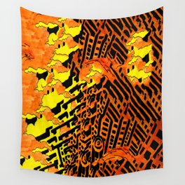 Nightmares:  City Asleep in the Raging Inferno Wall Tapestry