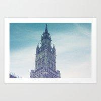 castle in the sky Art Prints featuring castle by Emily Lynn