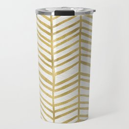 Gold Herringbone Travel Mug