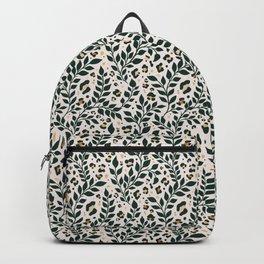 Spring Cheetah Animal Print Pattern - Dark Green and Cream Backpack