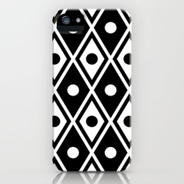 Harlequin Pattern Black & White iPhone Case