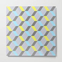 Jaune, bleu et gris Metal Print