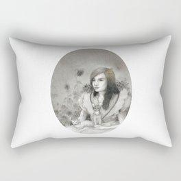 Cat Lady in Garden Rectangular Pillow