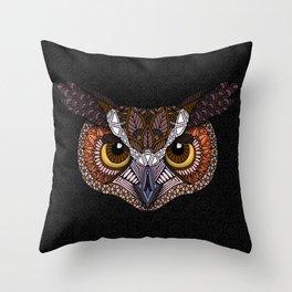 Great Horned Owl Head Throw Pillow