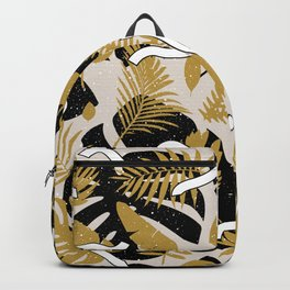 Tropical Jungle with Golden Leaves Backpack