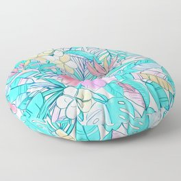Pretty Pastel Hawaiian Hibiscus Print Floor Pillow