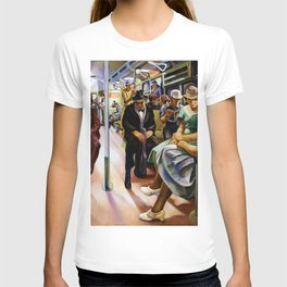 American Masterpiece 'Subway Riders' portrait painting by Lily Furedi T-shirt