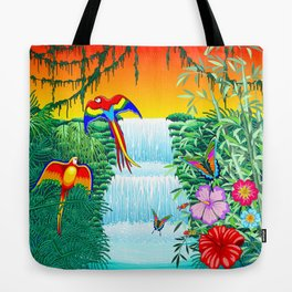 Waterfall Macaws and Butterflies on Exotic Landscape in the Jungle Naif Style Tote Bag