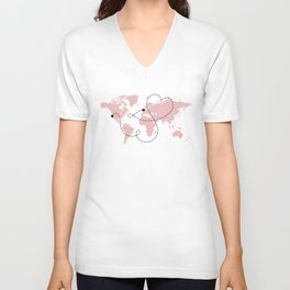 Los Angeles to UK Long Distance World Map in Pink Unisex V-Neck