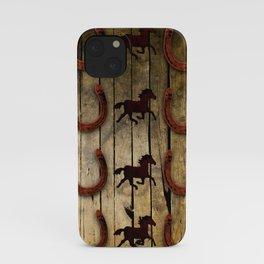 Horses and Horseshoes on Wood  backround Gifts iPhone Case