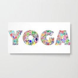 Yoga Pretty Floral Word Art Design Metal Print