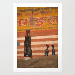 Doing Yoga on the Ghats Art Print