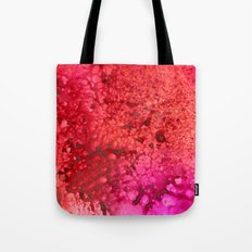 Red to pink spattered Tote Bag