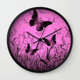 Butterfly Meadow in Pink Wall Clock