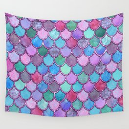 Colorful Pink Glitter Mermaid Scales Wall Tapestry
