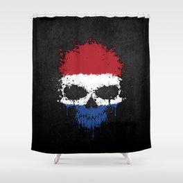 Flag of The Netherlands on a Chaotic Splatter Skull Shower Curtain