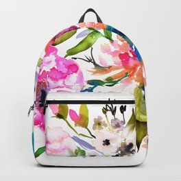 WATERCOLOUR PEONY AND ROSES Backpack