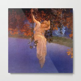 'Reveries' - Girl on a Swing on top of the World by Maxfield Parrish   Metal Print