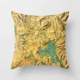 Panoramic Map of Yellowstone National Park Throw Pillow