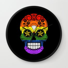 Gay Pride Rainbow Flag Sugar Skull with Roses Wall Clock