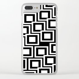 Black and White Squares Pattern 02 Clear iPhone Case