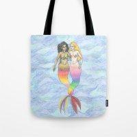lesbian Tote Bags featuring lesbian mermaids by ElenaM