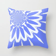 The Modern Flower Baby Blue & White Throw Pillow