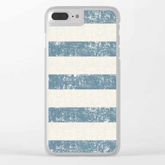 Maritime Beach Pattern- Blue and White Stripes- Horizontal- Clear iPhone Case