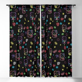 Neon Neko - a cute Japanese lucky cat in neon colors to make you smile Blackout Curtain