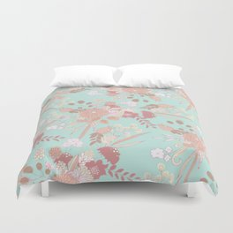 Vintage green pastel coral white rustic floral Duvet Cover