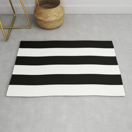 Black and White Large Stripes Rug