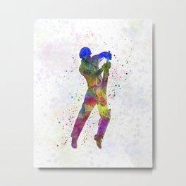 Cricket player batsman silhouette 05 Metal Print