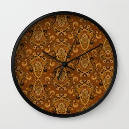 Golden Glow Paisely Wall Clock